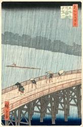 Sudden shower over shin-ōhashi bridge and atake, hiroshige - plakat