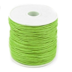 Woskowany sznurek bawełniany 1mm20m - zielony jas - zieljas