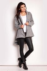 Szary asymetryczny płaszcz jesionka
