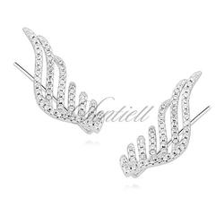 Srebrne kolczyki pr. 925 nausznice - skrzydła zdobione cyrkoniami