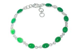 Srebrna bransoletka z zielonym onyksem