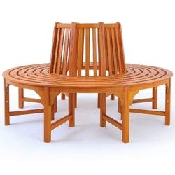 Okrągła drewniana ławka ogrodowa wokół drzewa