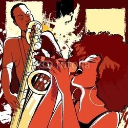 Plakat na papierze fotorealistycznym piosenkarz jazzowy i saksofonista na tle grunge