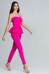 Fuksja elegancki komplet gorsetowa bluzka + długie spodnie