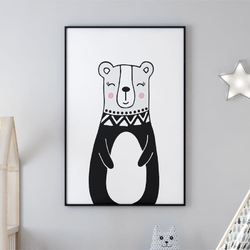 Plakat dla dzieci - miss lovely bear , wymiary - 60cm x 90cm, kolor ramki - biały
