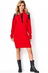 Czerwona dresowa sukienka z kapturem i koronką
