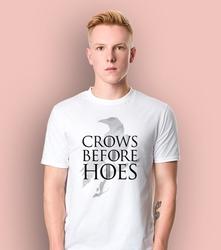Gra o tron - crows before hoes t-shirt męski biały l