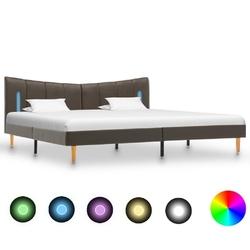 Vidaxl rama łóżka z led, antracytowa, sztuczna skóra, 200 x 200 cm