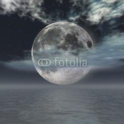 Tapeta ścienna fantasy księżyc-noc nad oceanem