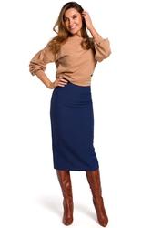 Granatowa spódnica z odcinanym pasem