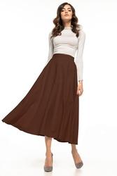 Spódnica z tkaniny z zamkiem ozdobnym za kolano t332 brązowy