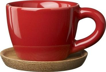 Filiżanka do espresso z podstawką höganäs keramik czerwona