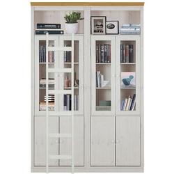 Podwójna witryna sosnowa anita z drabinką biała z cokołem w kolorze naturalnym  148x34x219 cm