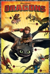 Dragons bohaterowie - plakat