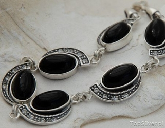 Cuba - srebrna bransoletka z onyksem i kryształami