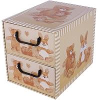 Pudełko misie 2 szufladki beżowe