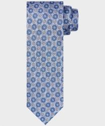 Błękitny krawat jedwabny w kwiatowy wzór