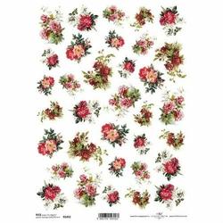 Papier ryżowy ITD A4 R1452 czerwone kwiaty