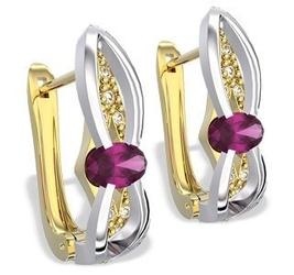 Kolczyki z żółtego i białego złota z rubinami i diamentami lpk-39zb - żółte i białe  rubin