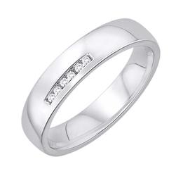 Staviori obrączka. 6 diamentów, szlif brylantowy, masa 0,03 ct., barwa h, czystość si2. białe złoto 0,585. szerokość 4 mm. grubość 1,5 mm.  dostępne inne kolory złota.