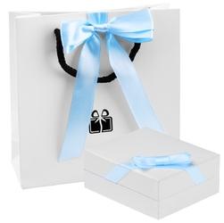 Wisiorek aniołek z cyrkoniami z łańcuszkiem srebro 925 prezent z dedykacją - niebieski
