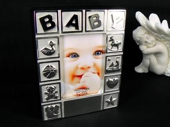 Posrebrzny album na zdjęcia baby pamiątka na chrzest roczek grawer