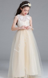 Długa suknia wieczorowa dla dziewczynki, tiulowe - szampańska