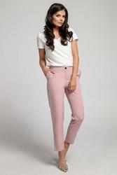 Jasnoróżowe eleganckie spodnie 78 z falbanką przy kieszeniach