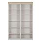 Podwójny regał sosnowy z półkami anita biały z wieńcem w kolorze naturalnym  148x34x219 cm