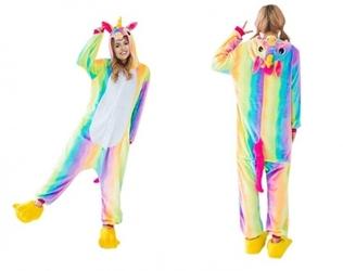 Tęczowy jednorożec kigurumi onesie dres piżama kombinezon