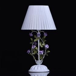 Biała lampka stołowa zdobiona motywem kwiatowym mw-light flora 421034601