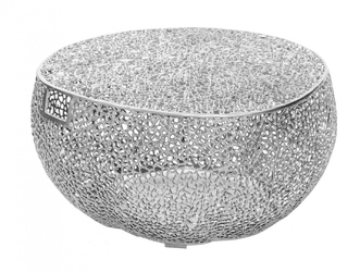 Designerski stolik kawowy leaf z uchwytami  srebrny 80 cm