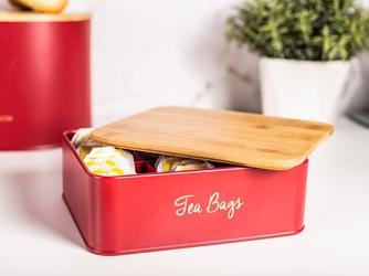 Puszka  pojemnik na herbatę z przegródkami i pokrywą bambusową altom design czerwona, dek. tea