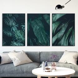 Zestaw trzech plakatów - green darkness , wymiary - 30cm x 40cm 3 sztuki, kolor ramki - czarny