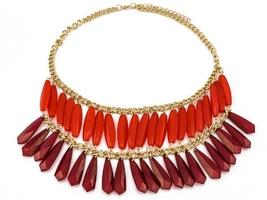 Naszyjnik dwukolorowy czerwony duży kolia - red
