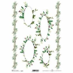 Papier ryżowy ITD A4 R1471 Ramki Ostrokrzew