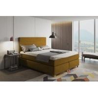 Łóżko kontynentalne paula i 160x200 cm z topperem musztardowe welur
