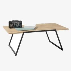 Nowoczesny stolik kawowy eliano z drewnianym dębowym blatem  110x60 cm