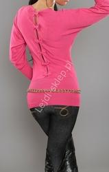 Sweter nietoperz z kokardkami na plecach, fuksja | swetry damskie 3027