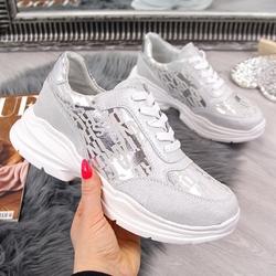 Buty sportowe skórzane na grubej podeszwie szare s.barski