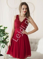 Krótka sukienka wieczorowa w kolorze czerwonego wina 1340