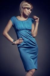 Sukienka carmen z szyfonem mod. 55 morski