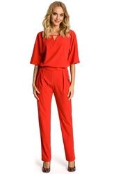 Kombinezon czerwony elegancki z krótkim rękawem