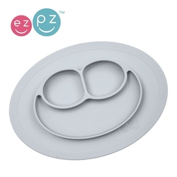 Ezpz silikonowy talerzyk z podkładką mały 2w1 mini mat pastelowa szarość