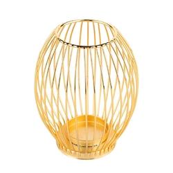 Świecznik metalowy altom design szprosowy złoty 8,5 x 8,5 x 15,5 cm