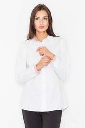 Biało-czerwona klasyczna koszula z długim rękawem