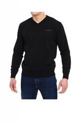 Sweter v-napis czarny pierre cardin