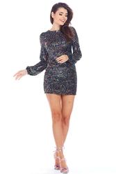 Cekinowa mini sukienka z długim rękawem