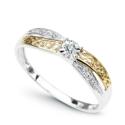 Złoty pierścionek staviori z białego złota, diament, szlif brylantowy hl1 nieskończoność
