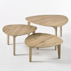 Drewniany dębowy stolik kawowy camilla  zestaw 3 stolików